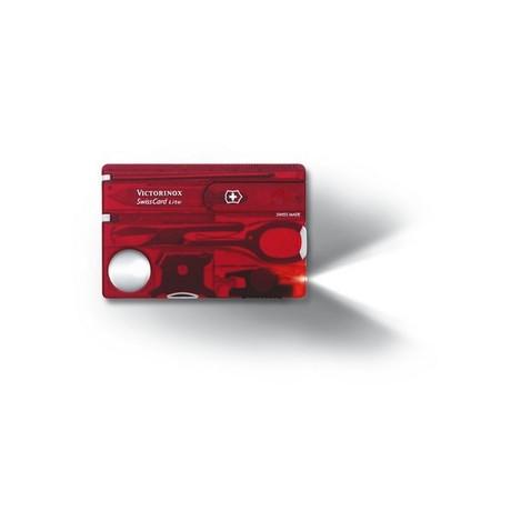 SWISSCARD LITE 82х54х4мм 13 предметов красный.прозр ножн LED отвертка ручка Vx07300.T