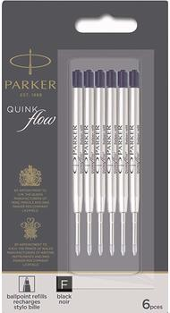 Стержни Parker QuinkFlow шарик. черн. F блистер 6шт. 10 231BK6