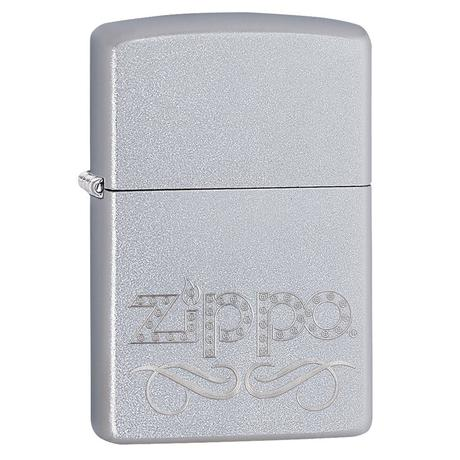 Зажигалка Zippo 205 ZIPPO SCROLL SATIN CHROME 24335