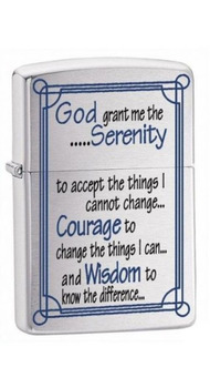 Зажигалка Zippo 200 SERENITY PRAYER BRUSHED CHROME 24355