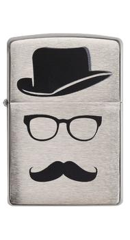 Зажигалка Zippo Top Hat Glasses And Mustache 28648