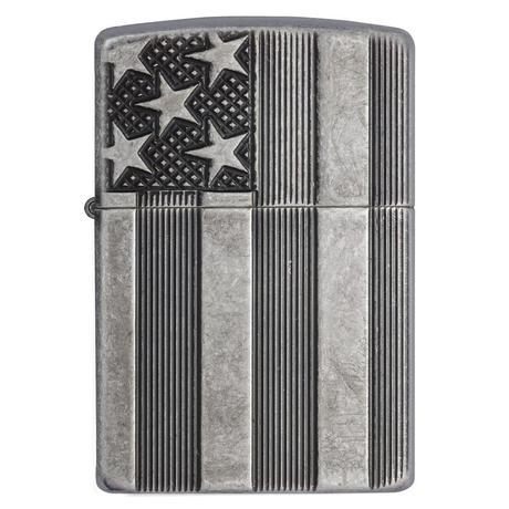 Зажигалка Zippo 28973 U.S. Flag Armor Antq Slvr Plate 28974