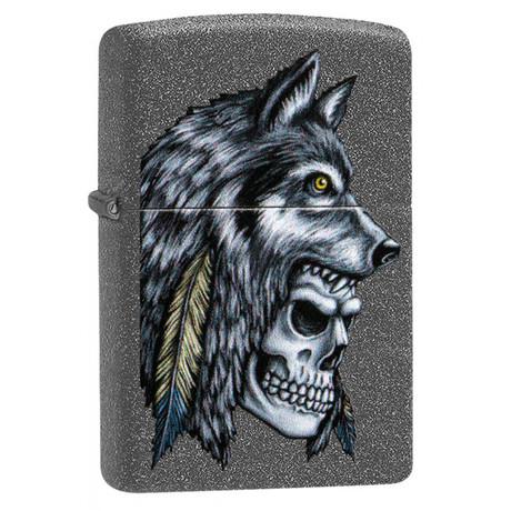 Зажигалка ZIPPO 211 Wolf Skull Feather Design 29863