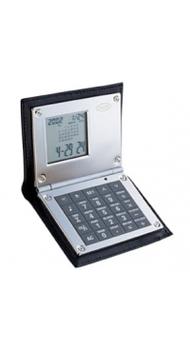 Калькулятор Dalvey с будильником в коже черный