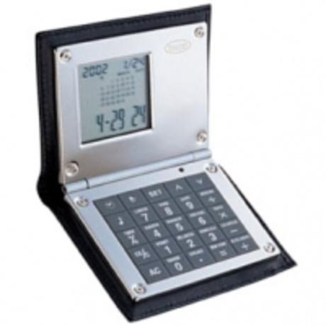 Калькулятор Dalvey с будильником в коже черный D00426