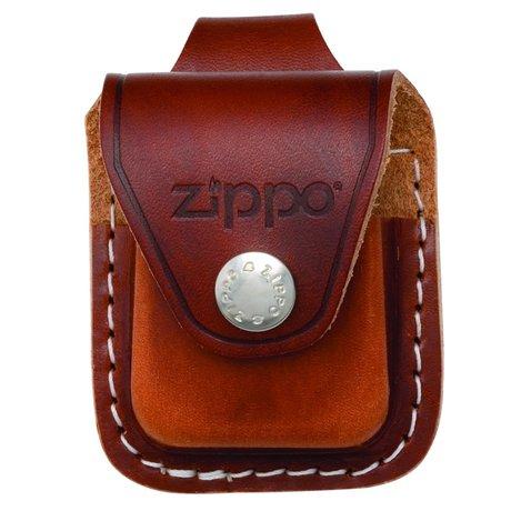Чехол для зажигалки Zippo коричневый с петелькой на кнопке LPLB