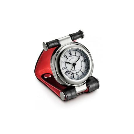 Часы Dalvey дорожные Travel SP в коже с двумя кнопками черн-крас. кварц 80х56мм D01589