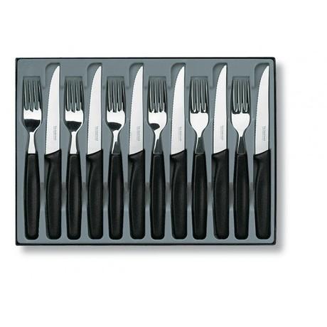 Набор кухонный Table Set 12шт с черн. ручкой (6 ножей 11см волн., 6 вилок) Vx51233.12