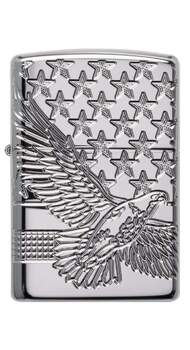 Зажигалка Zippo Armor High Polish Chrome Eagle Patriotic Design 49027