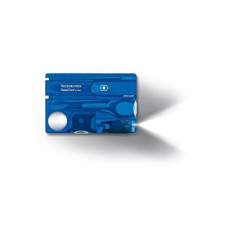 SWISSCARD LITE 82х54х4мм 13 предметов син.прозр ножн LED отвертка ручка Vx07322.T2