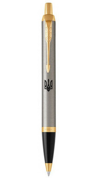 Ручка шариковая Parker IM 17 Brushed Metal GT BP Трезубец 22 232_TR
