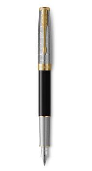 Ручка перьевая Parker SONNET 17 Metal & Black Lacquer GT FP F 68 111