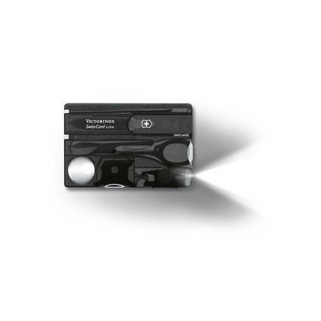SWISSCARD LITE 82х54х4мм 13 предметов черн.прозр ножн LED отвертка ручка Vx07333.T3