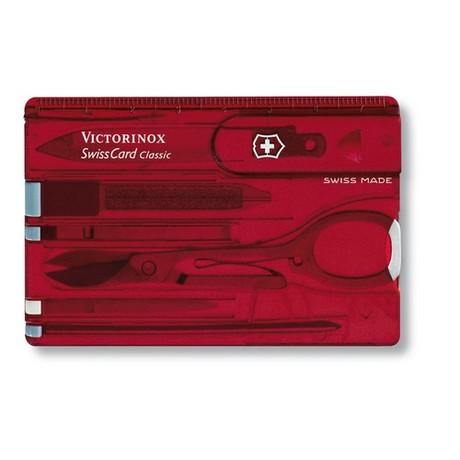 Складной нож Victorinox SWISSCARD 82х54х4мм 10функ крас.прозр ножн ручка 10 предметов Vx07100.T