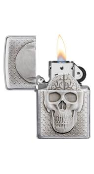 Зажигалка ZIPPO 200 Skull with Brain Surprise 29818